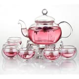 Jusalpha Glass Filtering Tea Maker Teapot with a Warmer and 6 Tea Cups Set (Version 2, 26-Oz) (Color: Clear, Tamaño: Version 2, 27-Oz)