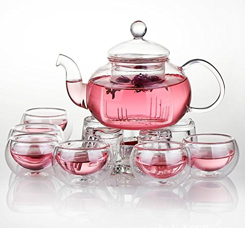 For Sale! Jusalpha Glass Filtering Tea Maker Teapot with a Warmer and 6 Tea Cups Set (Tea Set Versio...