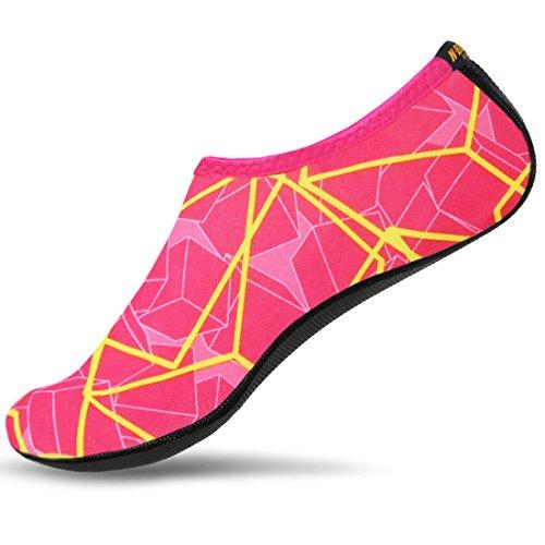 NBERA Barefoot Flexible Water Skin Shoes Aqua Socks for Beach Swim Surf Yoga Exercise (5.L (US W:6.5~7.5 M:6~6.5), Pink Yellow)