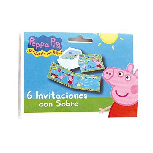 Peppa Pig - 6 invitaciones con sobre (Verbetena 016000719)