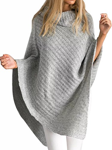 Choies Women Gray Chic Turtleneck Knit Oversized Cape Jumper Poncho Sweater Onesize (Gray Cowl Neck Sweater compare prices)