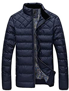 UBon Men Winter Thicken Cotton Stand Collar Outwear Coat Navy Small