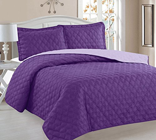 Home Sweet Home Victoria Design Reversible 3 PC Quilt Bedspread Sets (Full/Queen, Purple/Lavender) (Quilt Queen Purple compare prices)