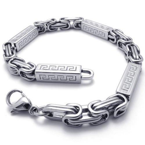 KONOV Jewelry Mens Stainless Steel Bracelet, Silver, 9 Inch