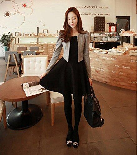ジャケット レディース 黒 ワンピース グレー 重ね着 風 切り替え 長袖 エレガント ドレス ブラック スーツ (XL