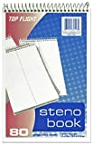 Top Flight Steno Book, Top Wirebound, 6 x 9 Inches, Gregg Ruling, Green Paper, 80 Sheets (4600953)