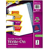 Avery Top Tab Durable Write-On Dividers, 9 x 11 Inches, 3-Tab Set (16172)