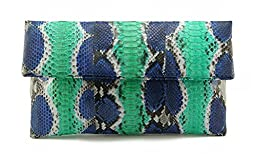 Genuine Multicolor Blue and Cyan Python Leather Classic Foldover Clutch Bag