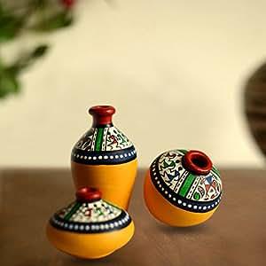 Buy Exclusivelane Terracotta Warli Handpainted Pots Yellow