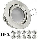 10er LED Einbaustrahler Set Silber gebürstet mit LED GU10 Markenstrahler von LEDANDO – 5W – schwenkbar – warmweiss – 120° Abstrahlwinkel – A+ – 35W Ersatz – Milchglasoptik