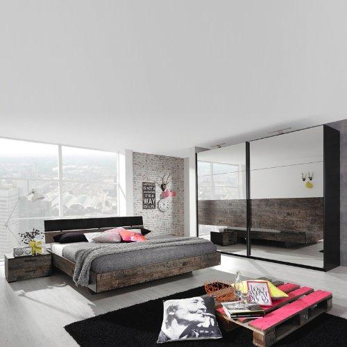 Schlafzimmerset 4-tlg »SUMATRA221« schwarz, vintage braun 140x200cm günstig