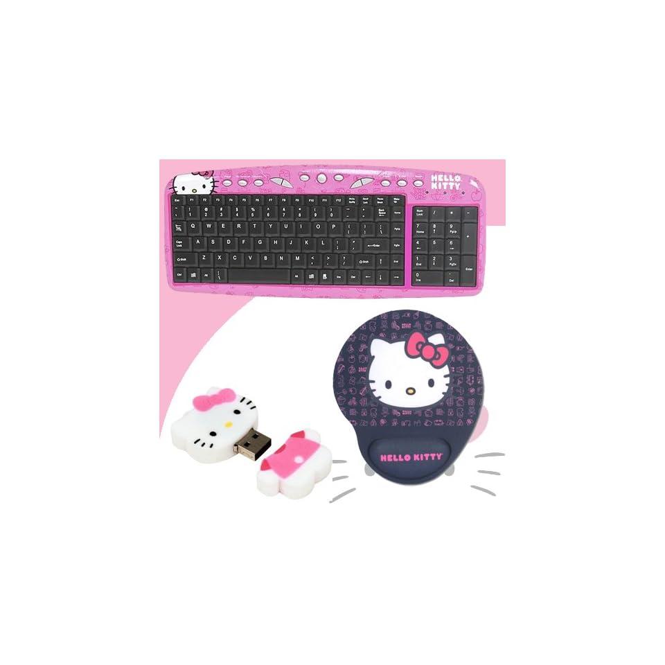 Hello Kitty USB Keyboard with Hot Keys #90309K (Pink) + Hello Kitty 2 GB USB Flash Drive (Pink/White) #46009 + Hello Kitty Mouse Pad w/ Wrist Rest (Black) #74709 BLK DavisMAX Bundle