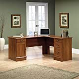 Sauder Office Furniture Shaker Cherry L-Shaped Desk with Three Storage Drawers