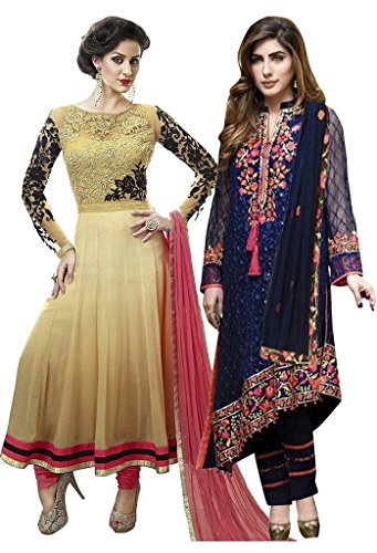 db85d42ae Style Mania Net   Georgette Colored Multi Embroidered Combo of 2 Salwar  kameez