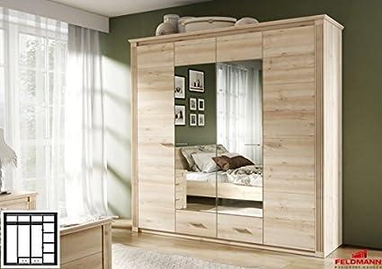 Kleiderschrank 110018 Schlafzimmerschrank 4-turig mit Spiegel und Schubkästen buche iconic 219cm