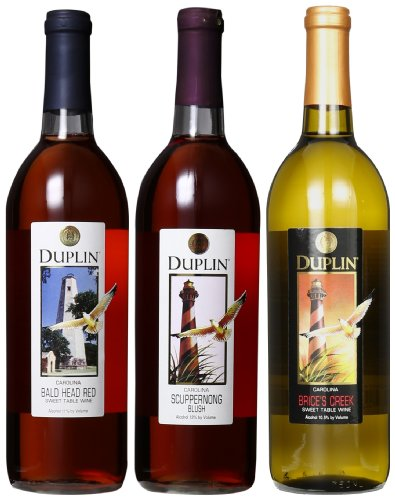 Duplin Winery Muscadine And Labrusca Blends Mixed Pack 3 X 750 Ml, Brice'S Creek, Scuppernong Blush And Bald Head Red