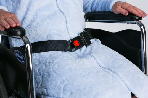"Secure Quick-Release Wheelchair Seat Belt with Auto Style Buckle Closure - Adjustable 42""- 62"" - One Year Warranty"