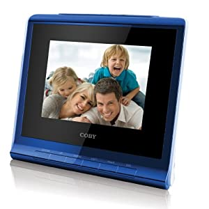 Coby DP356BLU 3.5-Inch Digital Photo Frame with Alarm Clock, Blue