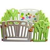 Puzzle and Beep Fun Baby Playpen, Kid Play Zone - 10 Panels (green) 12.69sq.ft, Green