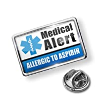 Pin Medical Alert Blue Allergic to Aspirin - Lapel Badge - NEONBLOND from NEONBLOND