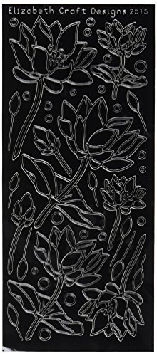 "Lotus Flowers Peel Off Stickers 4""X9"" Sheet-Black"