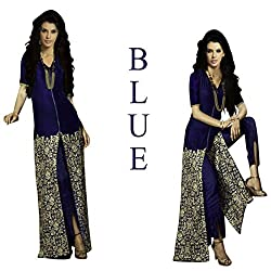 Typify Women's Velvet Semistitched Dress Material(PR-Typify11 _Blue)