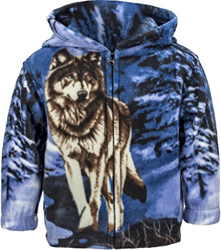 Toddlers Animal Print Fleece Hooded Zip Up Jacket W/ Magnet, 4T, Wolf