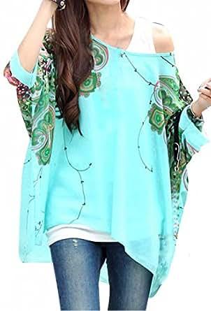 Bepei Batwing T-shirt Blouse Bohême Hippie Manches 3/4 Ample Encolure en Chiffon Femme Vert L