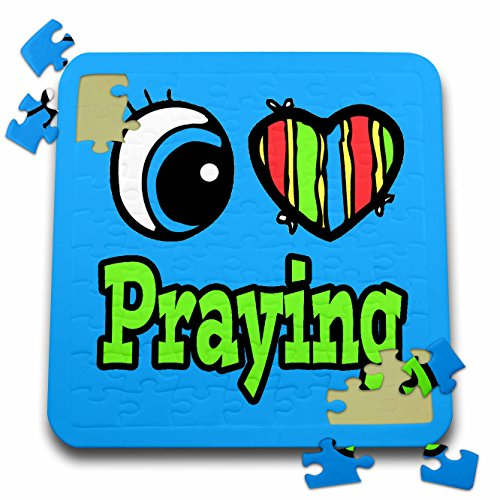 Dooni Designs Eye Heart I Love Designs - Bright Eye Heart I Love Praying - 10x10 Inch Puzzle (pzl_106430_2)