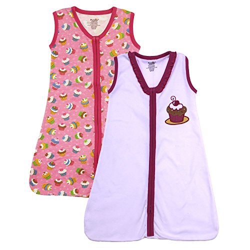 Funkoos Organic Sweet Cupcake-Wearable Blanket 2 Pack (3-6 Months)