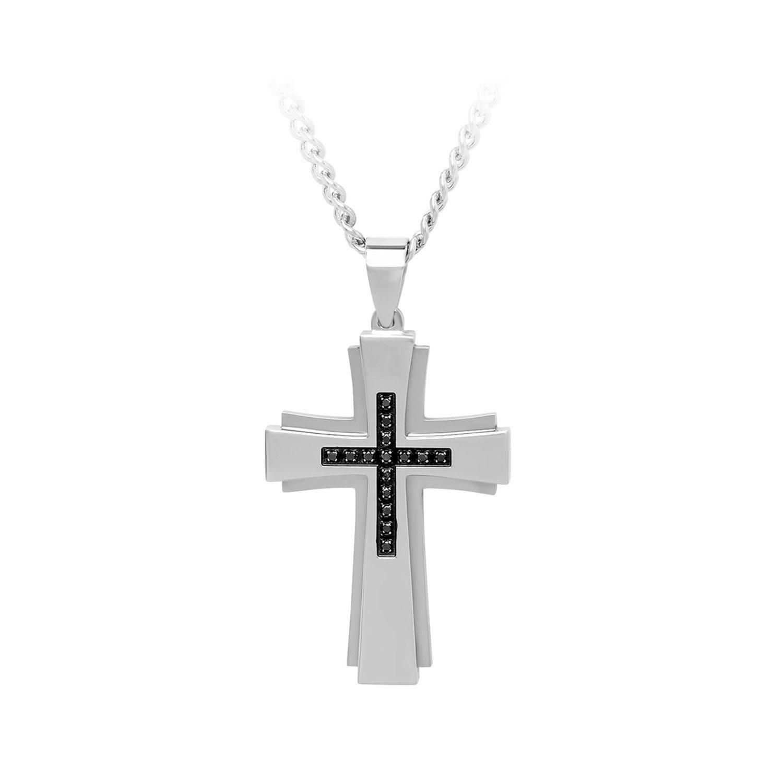1/6 ct. tw. Black Diamond Accented Cross Pendant in Stainless Steel карабин black diamond black diamond rocklock twistlock