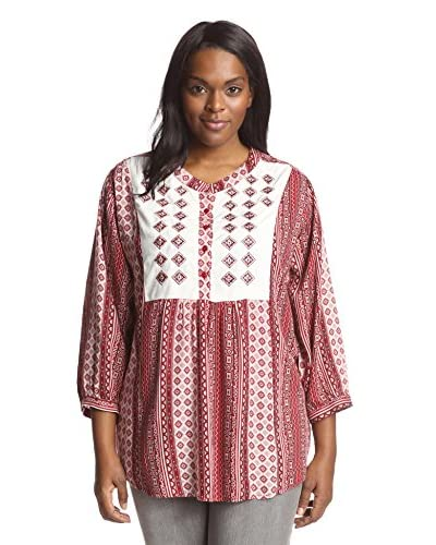 James & Erin Women's Embroidered Yoke Top