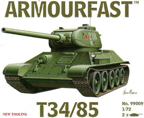 Armourfast 99009 Russian T34 1:72 Easy Assembly Plastic Kit (2 Models)