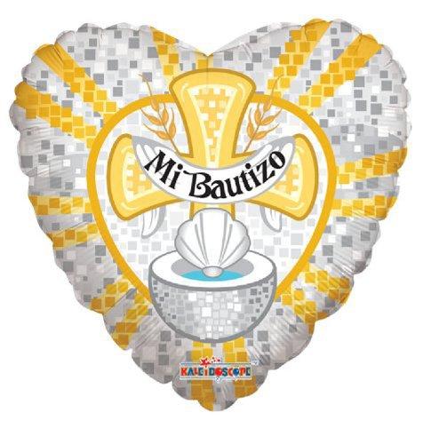 """Baptism Mylar Balloons 18 Golden """" Mi Bautizo """" (3 ct) - 1"""