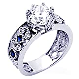 14K White Gold 2 Carat Octagon CZ Simulated Blue Sapphire CZ Accent Wedding Engagement Ring