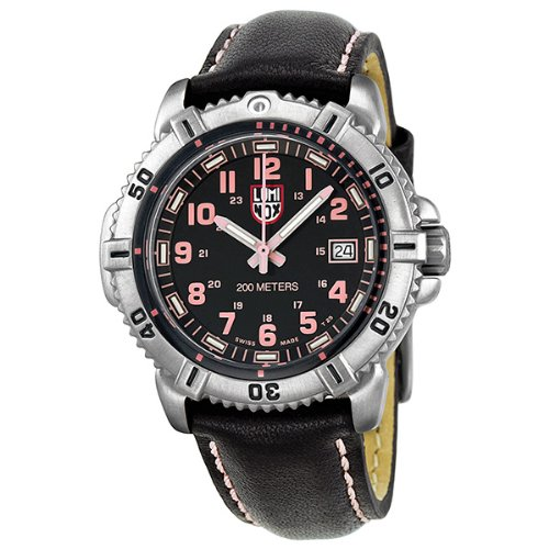 Luminox Colormark Black Dial Stainless Steel Black Leather Ladies Watch A.7261