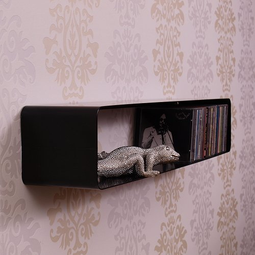 70s RETRO DESIGN LOUNGE CD SHELF / RACK from DESIGN DELIGHTS metal wall storage black