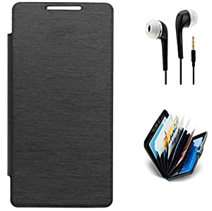Tidel Black Durable Premium Flip Cover Case For Sony Xperia M4 With 3.5mm Jack Handsfree Earphone & Credit Card Holder