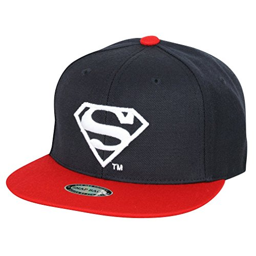 ililily Superman Shield Embroidery Youth New era Style Letter Brim Baseball Cap
