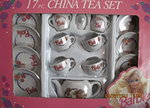 Barbie 17 Piece CHINA TEA SET - Child Size Set w Tea Pot, Cups, Saucers, Plates & More (1992)