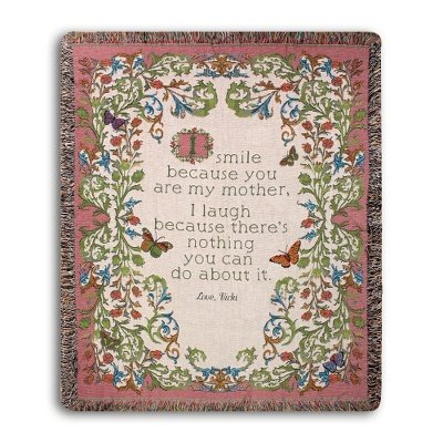 Personalized, Embroidered Smile About Mom Throw front-918873