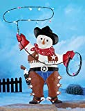 Country Western Metal Rodeo Cowboy Snowman Colorful Lights Lasso Rope Stake Whimsical Decor Festive Winter Christmas Holiday Yard Accent Outdoor Seasonal Decoration