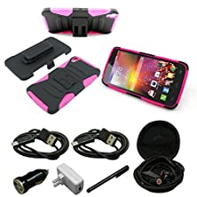 """buy Mstechcorp - Idol 3 (5.5"""") Case, [Heavy Duty] Armor Defender Full Body Protective Hybrid Case Cover With Belt Clip For Alcatel Onetouch Idol 3 5.5 Inch - Includes Accessories (H Pink)"""