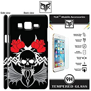 TGK™ Combo for Samsung Galaxy On5 / On5 PRO (Combo of 1 Designer Cover + 1 Tempered Glass) - TGK™ Abstract Art Scary Skull Tattoo 40th Design Back Cover Case (Multicolor) + Premium HD Tempered Glass Screen Protector With Rounded Edges