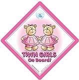 Twin On Board Car Sign Pink Bears Twins On Board Sign Twin Girls Baby on Board Sign Baby on Board Decal Baby Sign Twins Sign Baby Car Sign Bumper Sticker Car Sticker