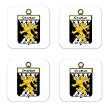 Grattan Or Mcgrattan Family Crest Square Coasters Coat of Arms Coasters - Set of 4