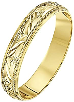 Theia 9ct Gold - Super Heavy Weight - D Shape Leave Design Wedding Ring for Men or Women