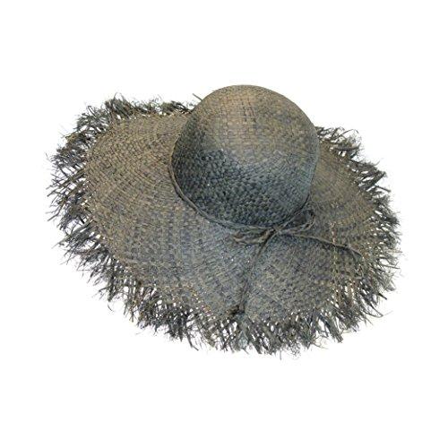 [Slate Gray Straw Packable Beach Sun Hat, Wide Floppy 5 in Brim, Frayed Fringe] (Straw Farmer Hats)