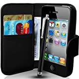 Apple iPhone 4 / 4S Black Wallet Case Cover Includes Screen Protector, Touch Screen Stylus And Polishing Cloth