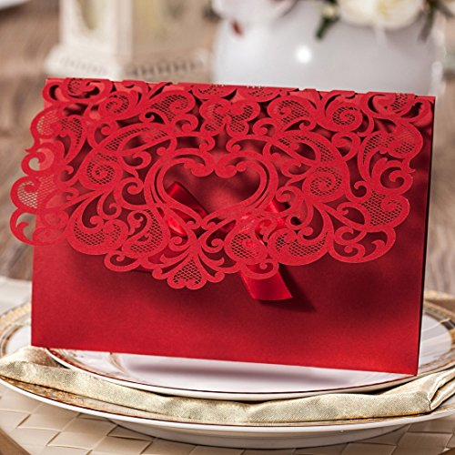 Wishmade 100x Elegant Red Laser Cut Wedding Invitation Cards Kits with Lace Bow Paper Cardstock for Bridal Shower Engagement Birthday Baby Shower Quinceanera(set of 100pcs) 2